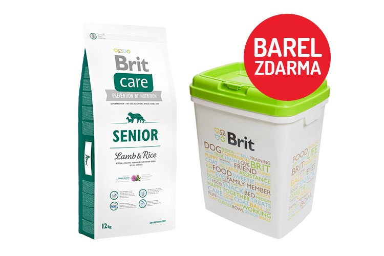 Brit Care Senior Lamb  Rice 12kg  barel ZDARMA