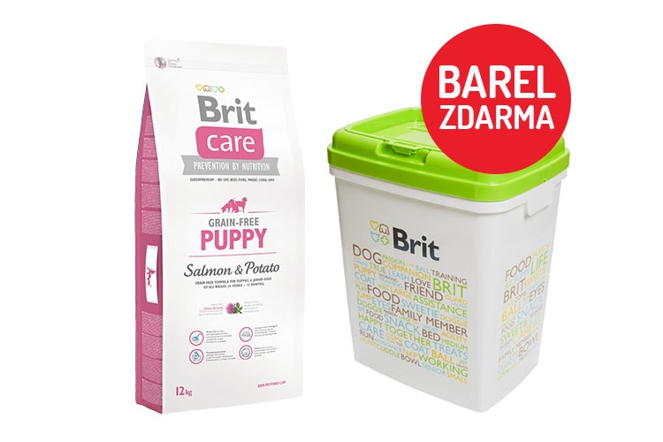 Brit Care Grain-free Puppy Salmon  Potato 12kg  barel ZDARMA