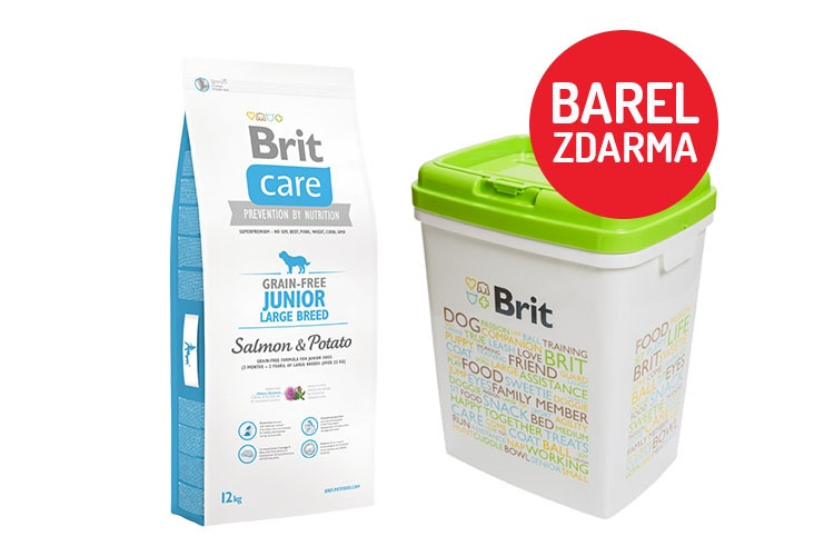 Brit Care Grain-free Junior Large Breed Salmon  Potato 12kg  barel ZDARMA