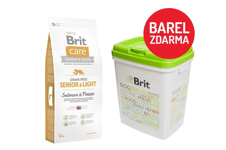 Brit Care Grain-free SeniorLight Salmon  Potato 12kg  barel ZDARMA