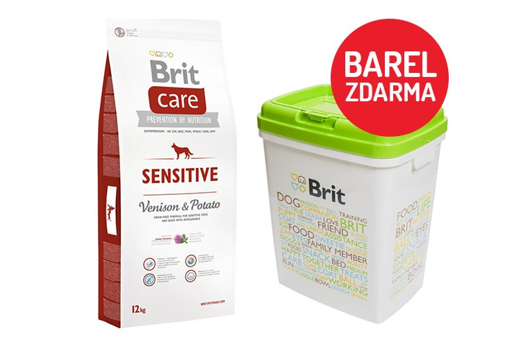 Brit Care Sensitive Venison  Potato 12kg  barel ZDARMA