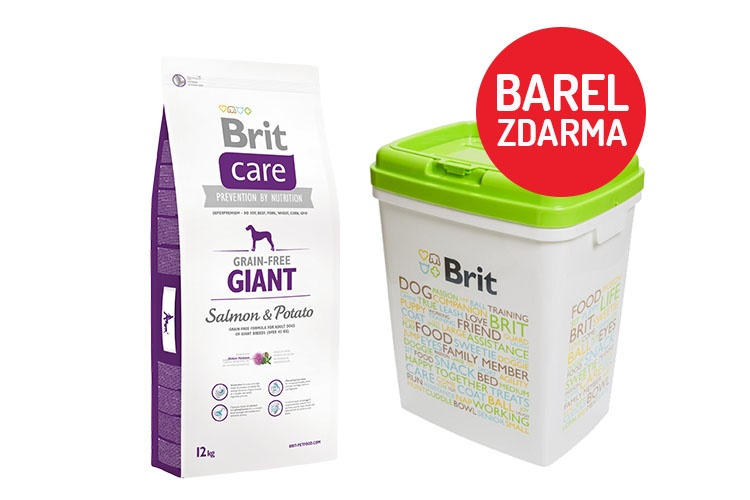 Brit Care Grain-free Giant Salmon  Potato 12kg  barel ZDARMA
