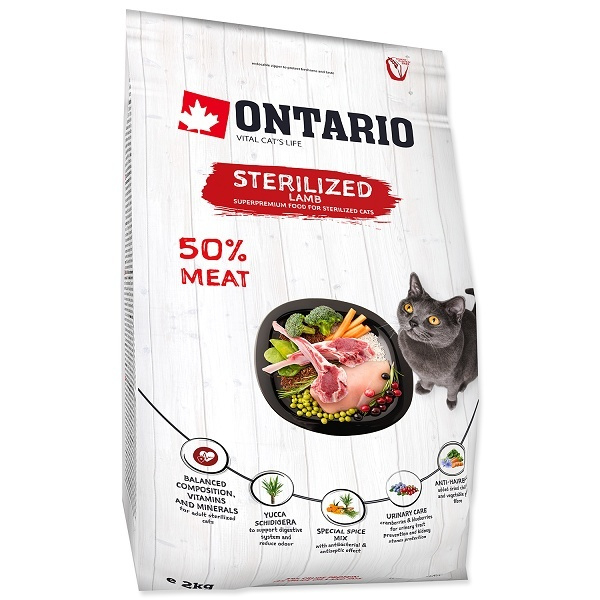 Ontario Cat Sterilised Lamb 2kg