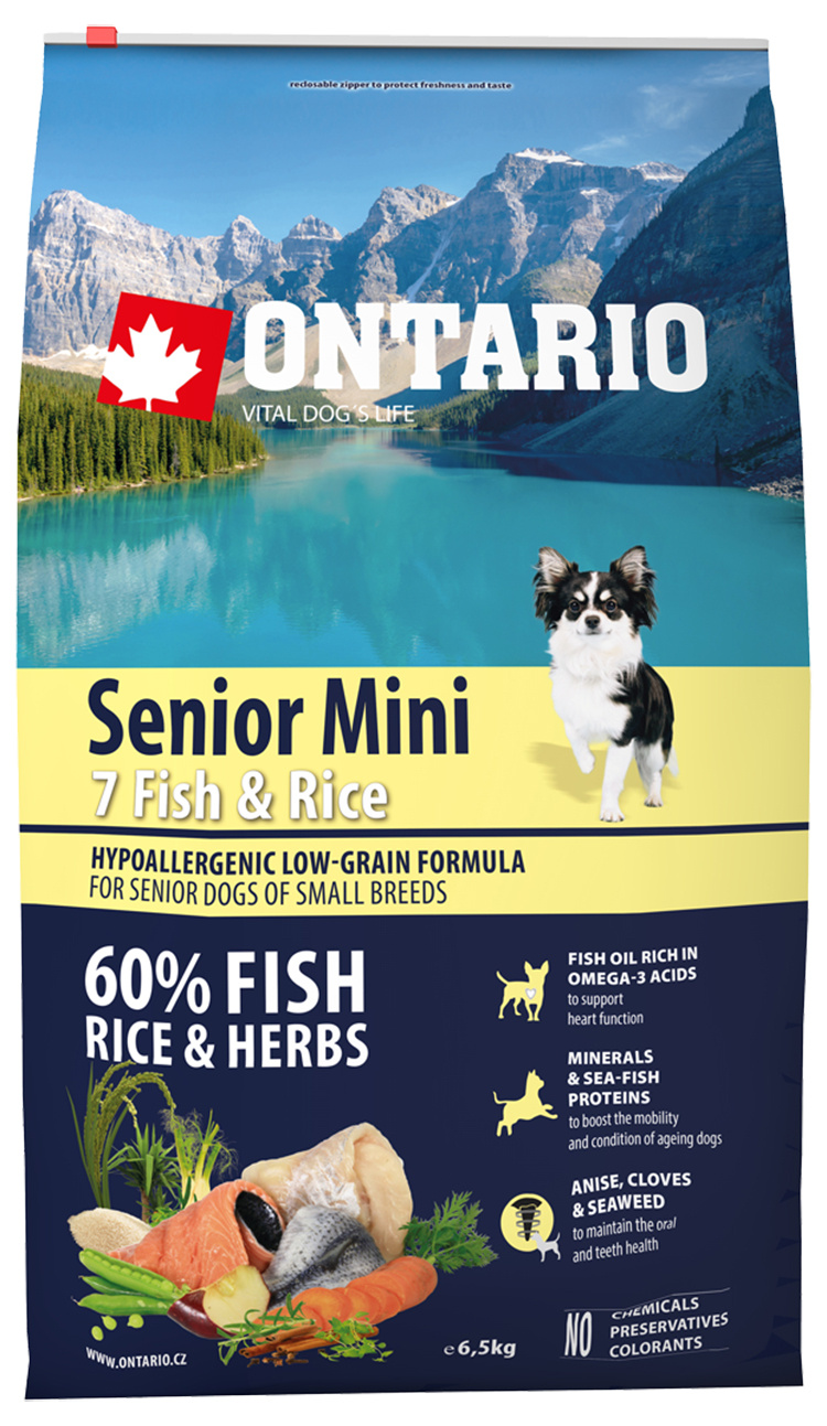 Ontario Senior Mini Fish  Rice 6.5kg