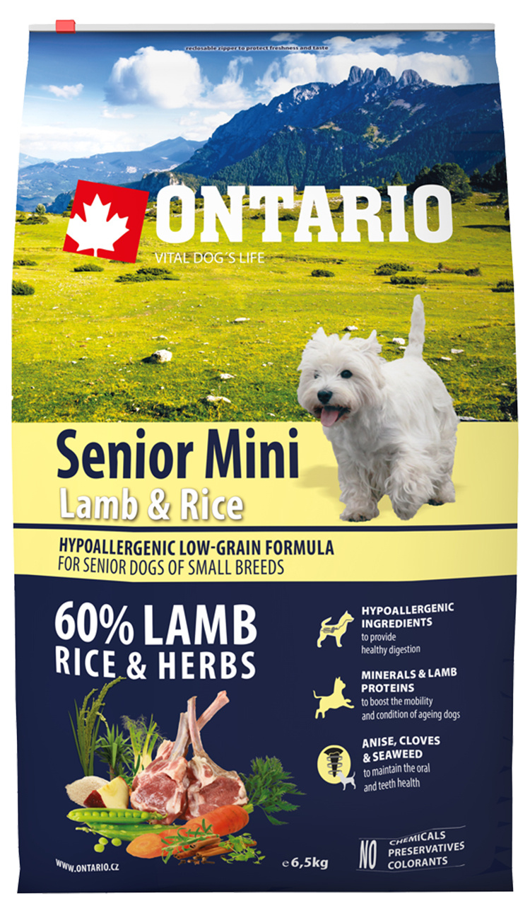 Ontario Senior Mini Lamb  Rice 6.5kg