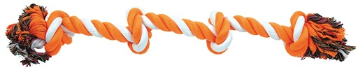 Uzel DOG FANTASY bavlněný oranžovo-bílý 4 knoty 60 cm