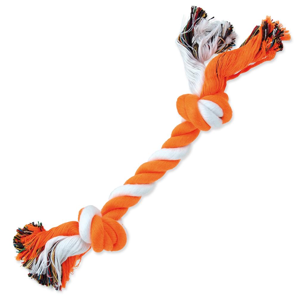 Uzel DOG FANTASY bavlněný oranžovo-bílý 2 knoty 25 cm