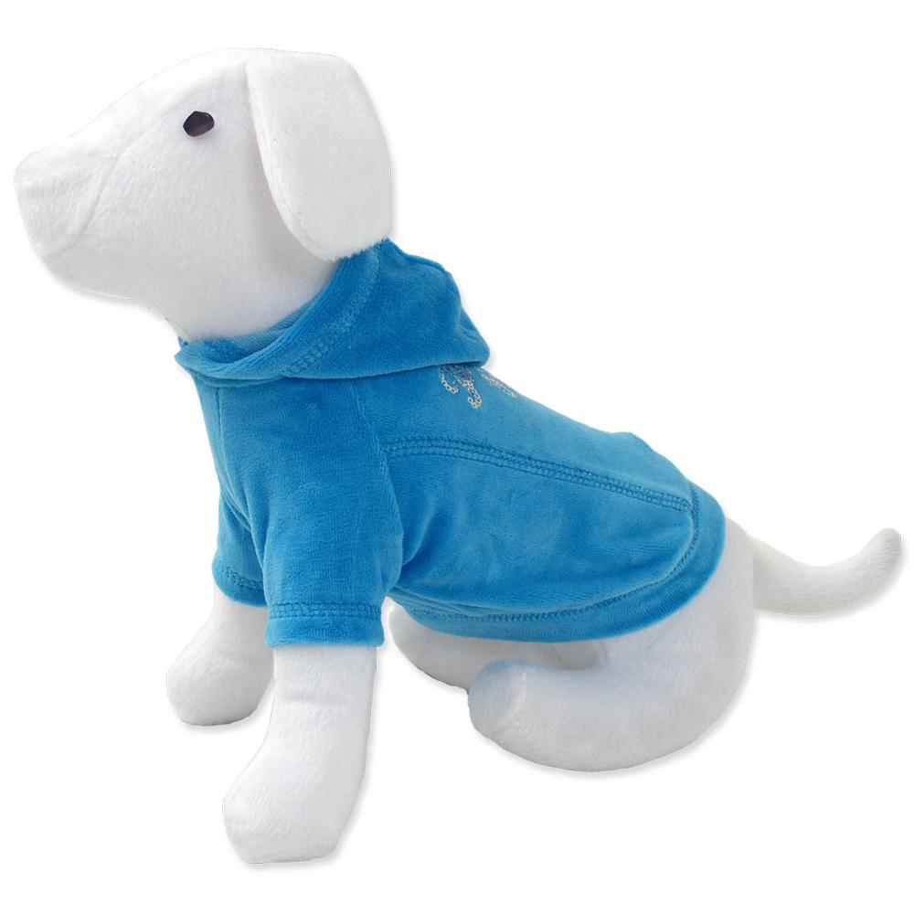 Triko DOG FANTASY s kapucí modré 45cm