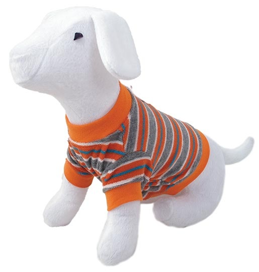 Triko DOG FANTASY s proužky oranžové M