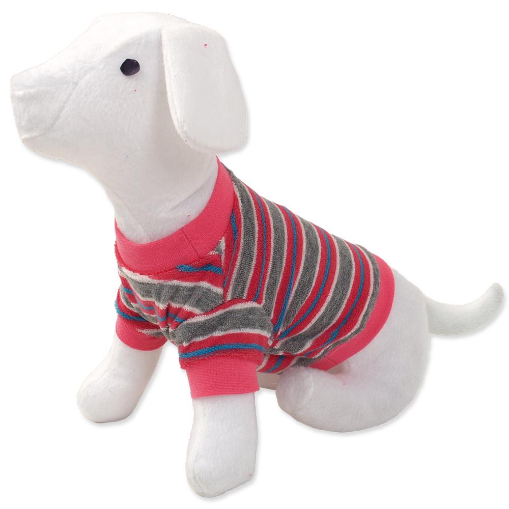 Triko DOG FANTASY s proužky růžové M/L