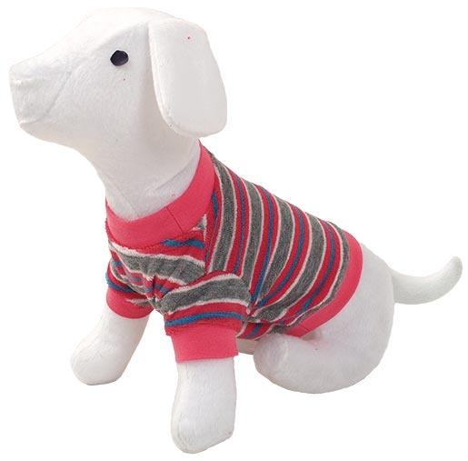 Triko DOG FANTASY s proužky růžové M
