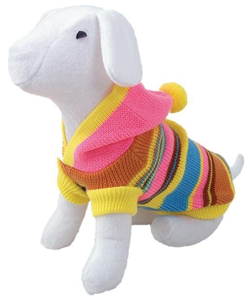 Svetr DOG FANTASY s růžovou kapucí a proužky XL