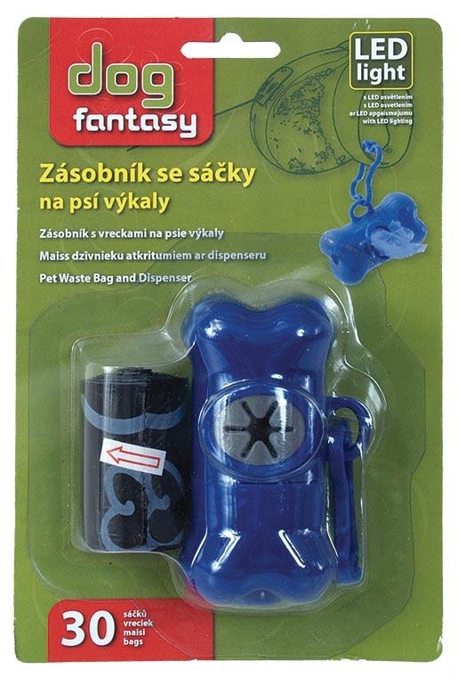 Zásobník Dog Fantasy na sáčky s LED světlem modrý