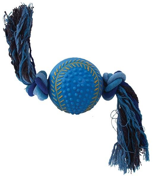 Hračka DOG FANTASY přetahovadlo tenisový míč modrý 30 x 9 cm