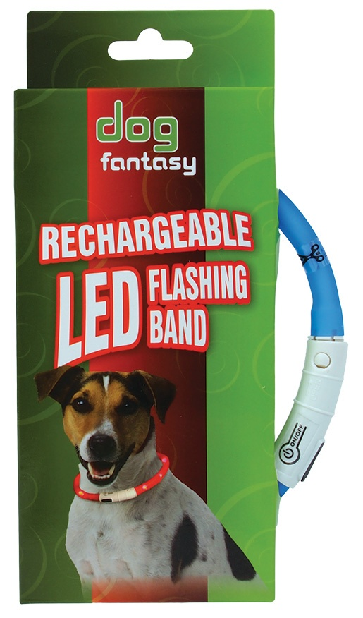 Obojek DOG FANTASY LED světelný světle modrý 70cm