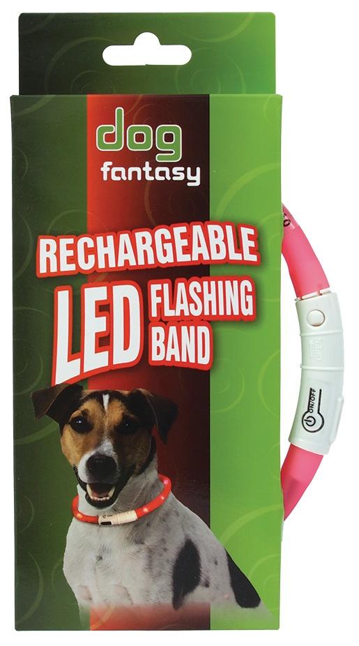 Obojek DOG FANTASY LED světelný růžový 70cm