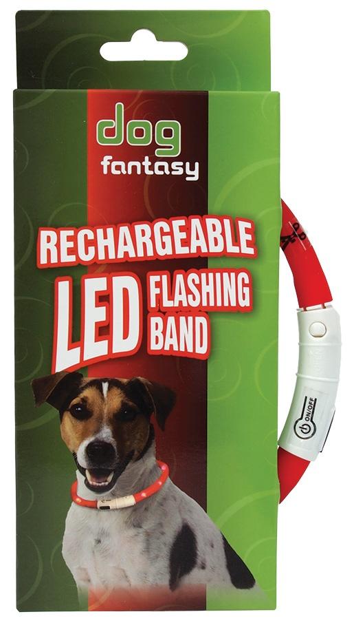Obojek DOG FANTASY LED světelný červený 45cm