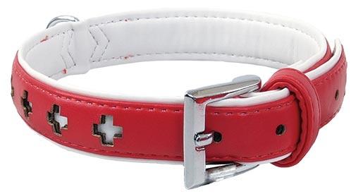 Obojek DOG FANTASY Design zdobený červený 27cm