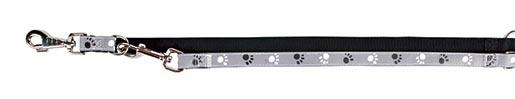 Vodítko pro psy Trixie Silver reflexní černo-šedá s potiskem tlapek M-L 2m*20mm