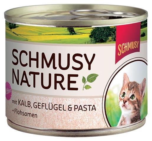 Konzerva SCHMUSY NATURE kitten telecí + drůbež 190g
