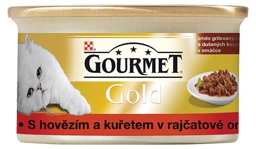 GOURMET Gold hovězí a kuře v rajčatové omáčce 85g