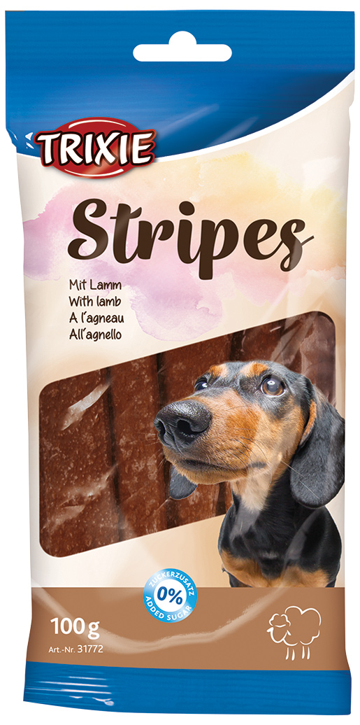 Pamlsek pro psy Trixie Stripes 100g jehněčí