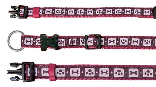 Obojek pro psy Trixie MA Bordeaux 22-35cm*15mm s potiskem pacek a kostiček vínový