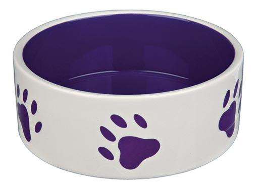 Miska keramická pro psy Trixie bílo-fialová 20cm*1400ml