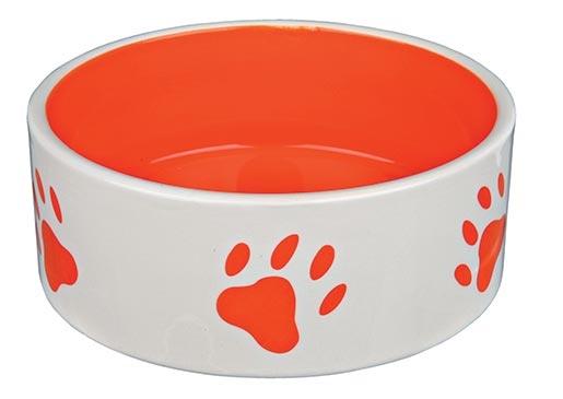 Miska keramická pro psy Trixie bílo-oranžová 16cm*800ml