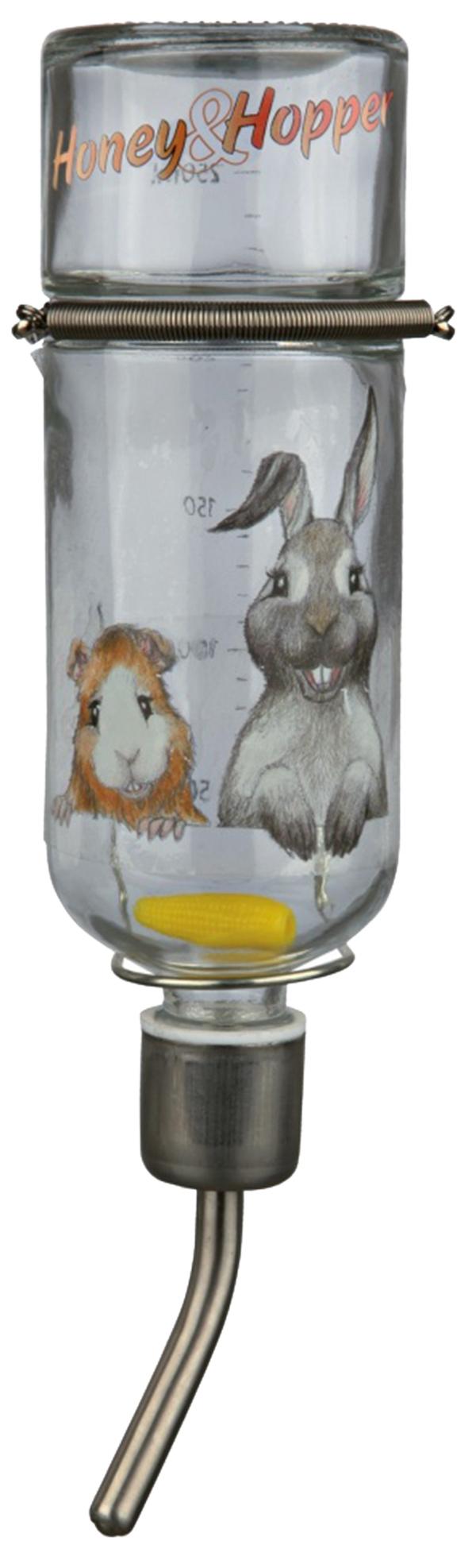 Napáječka skleněná pro hlodavce Trixie Honey & Hopper 0.25l