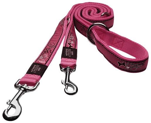Vodítko ROGZ Fancy Dress Pink Bone přepínací M