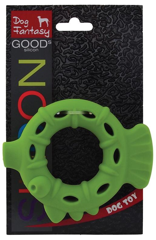 Hračka DOG FANTASY silikonový kroužek světle zelený