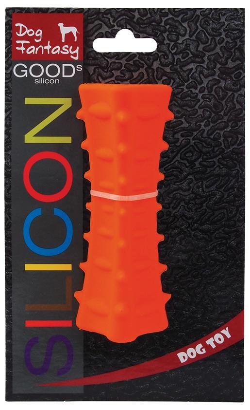 Hračka DOG FANTASY silikonový hranol tříboký oranžový