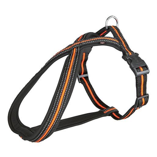 Postroj pro psy Trixie Fusion černo-oranžový L-XL 70cm