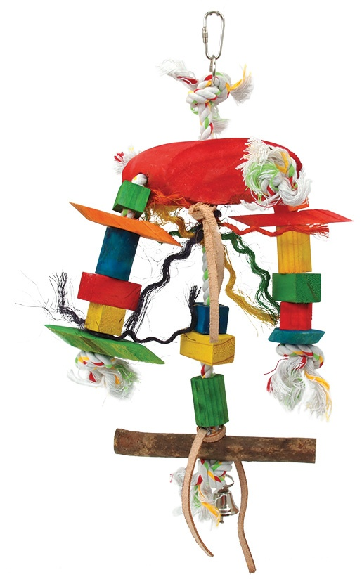 Hračka BIRD JEWEL Tripod závěsná dřevo - provaz 23 cm