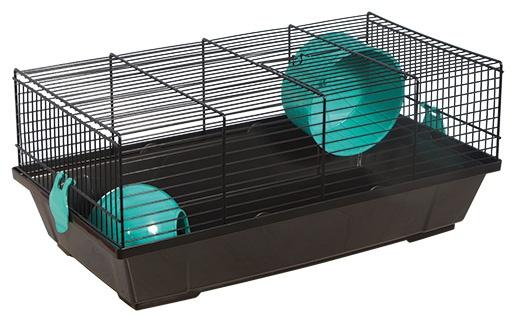 Klec SMALL ANIMAL Viktor černá s modrou výbavou