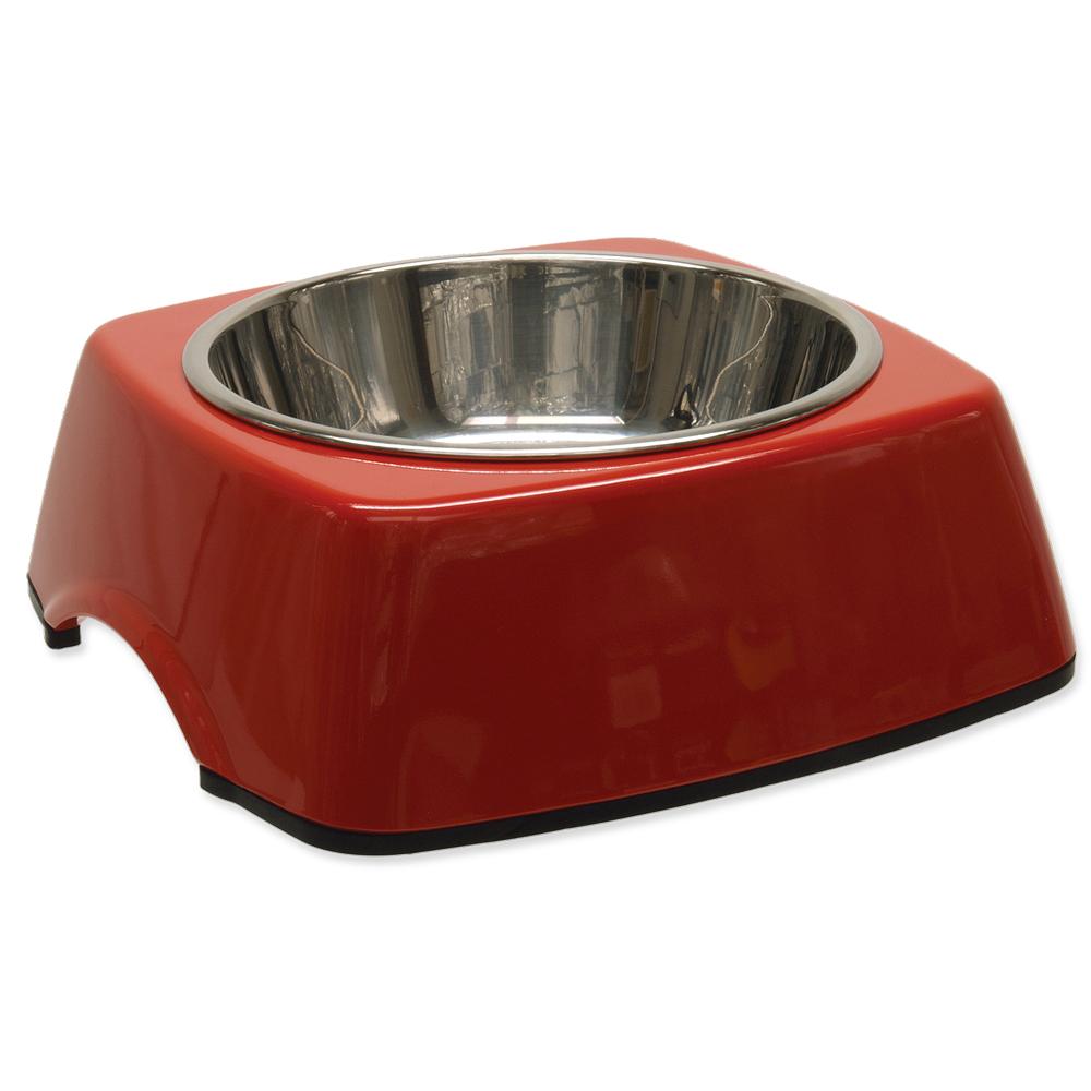 Miska DOG FANTASY nerezová čtvercová červená M 0.35l