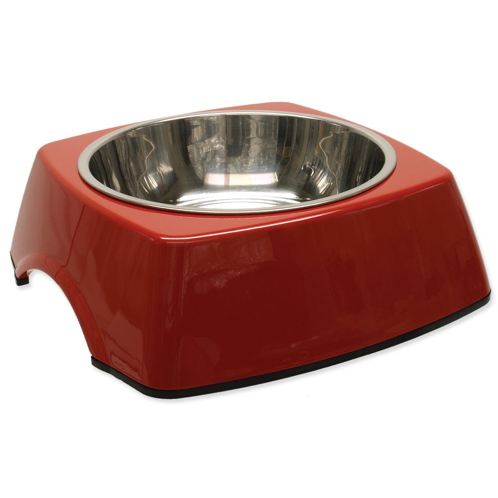 Miska DOG FANTASY nerezová čtvercová červená L 0.7l