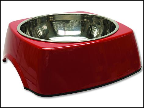 Miska DOG FANTASY nerezová čtvercová červená XL 1.4l