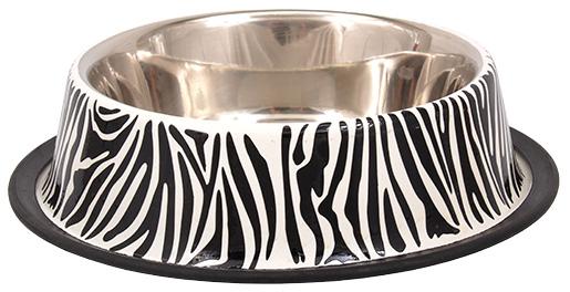 Miska DOG FANTASY nerez s gumou zebra 0,9l 25cm