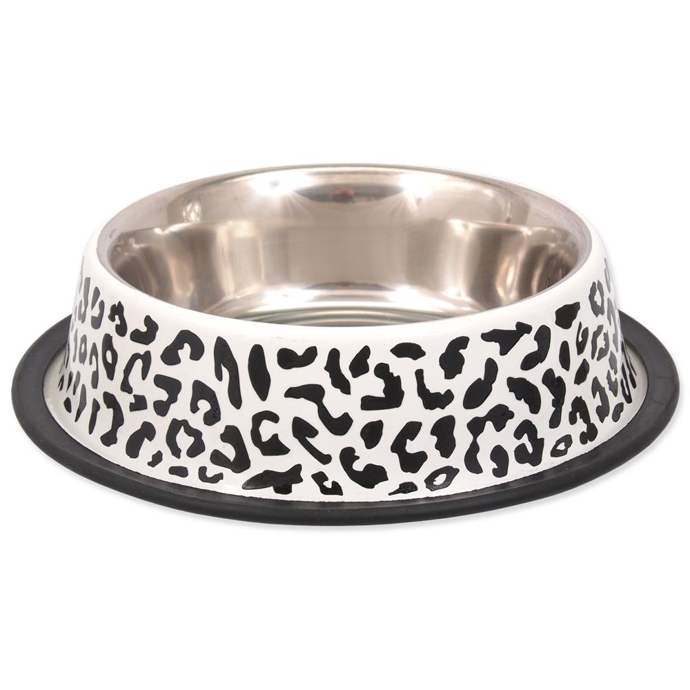 Miska DOG FANTASY nerez s gumou leopard 0,9l 25cm