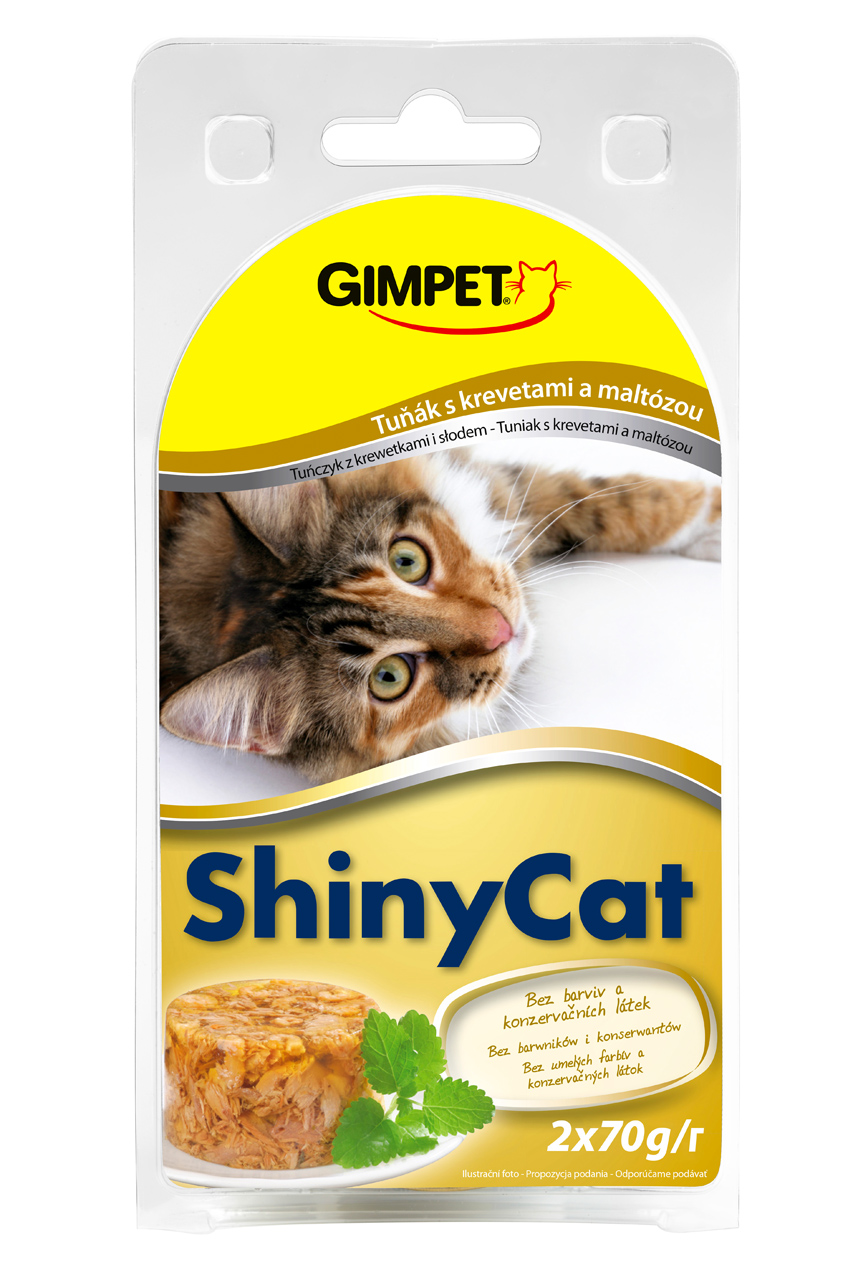 Gimpet Konzerva SHINY CAT tun+krev+maltoza 2x70g