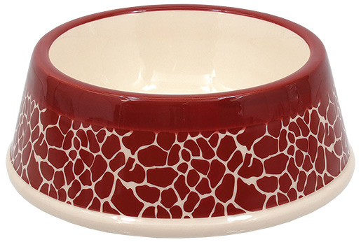Miska DOG FANTASY keramická potisk žirafa červená 18cm