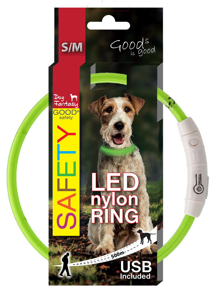 Dog Fantasy LED světelný obojek z nylonu zelený 45cm