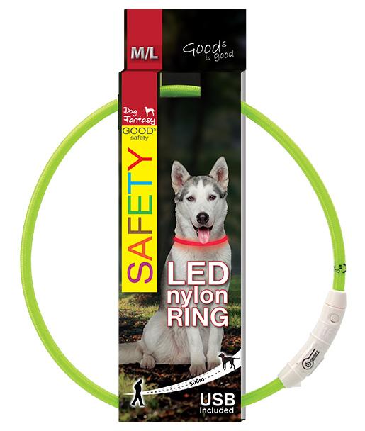Dog Fantasy LED světelný obojek z nylonu zelený 65cm
