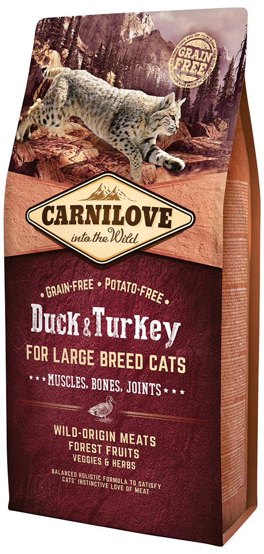 Carnilove Duck and Turkey Large Breed Cats – Muscles,Bones,Joints 6kg