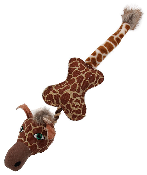 Hračka Dog Fantasy Textile Žirafa s provazem