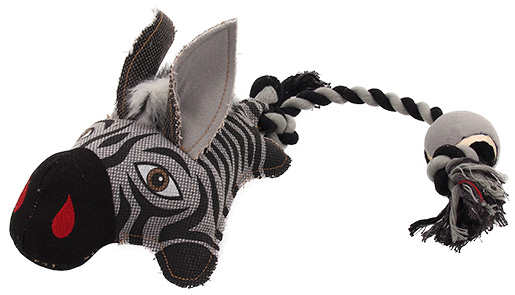 Hračka Dog Fantasy Textile Zebra s provazem