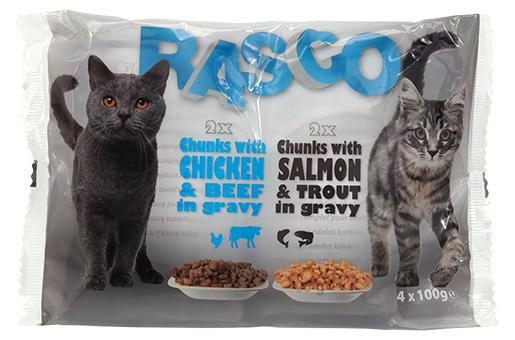 Kapsička Rasco Cats losos a pstruh/ kuřecí a hovězí maso 4x100g