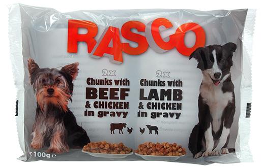 Kapsička Rasco Dog kuřecí a hovězí/ jehněčí a kuřecí 4x100g